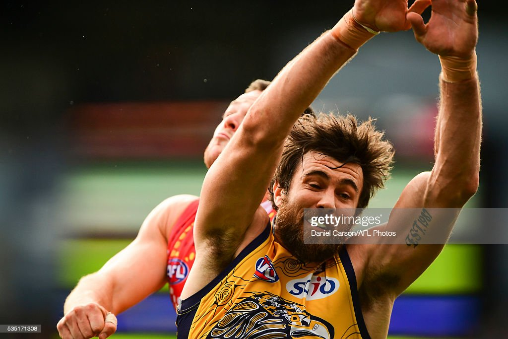 Josh Kennedy of the Eagles leads for the mark during the 2016 AFL Round 10 match between the West Coast Eagles and the Gold Coast Suns at Domain Stadium on May 29, 2016 in Perth, Australia.