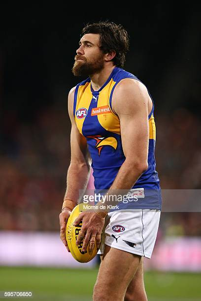 Josh Kennedy of the Eagles prepares to kick at goal during the round 23 AFL match between the Adelaide Crows and the West Coast Eagles at Adelaide...