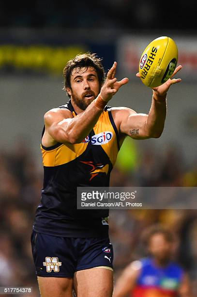 Josh Kennedy of the Eagles takes a mark during the 2016 AFL Round 01 match between the West Coast Eagles and the Brisbane Lions at Domain Stadium...