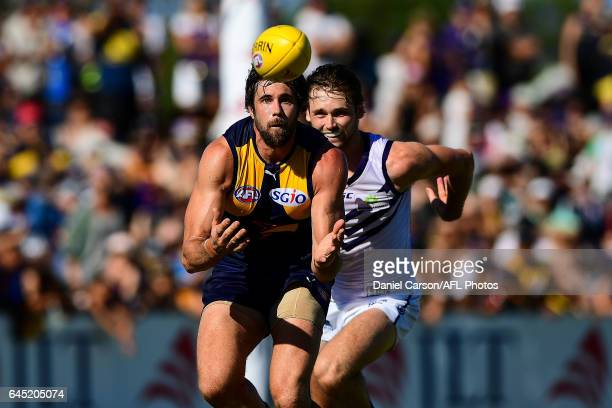Josh Kennedy of the Eagles takes a mark during the AFL 2017 JLT Community Series match between the West Coast Eagles and the Fremantle Dockers at...