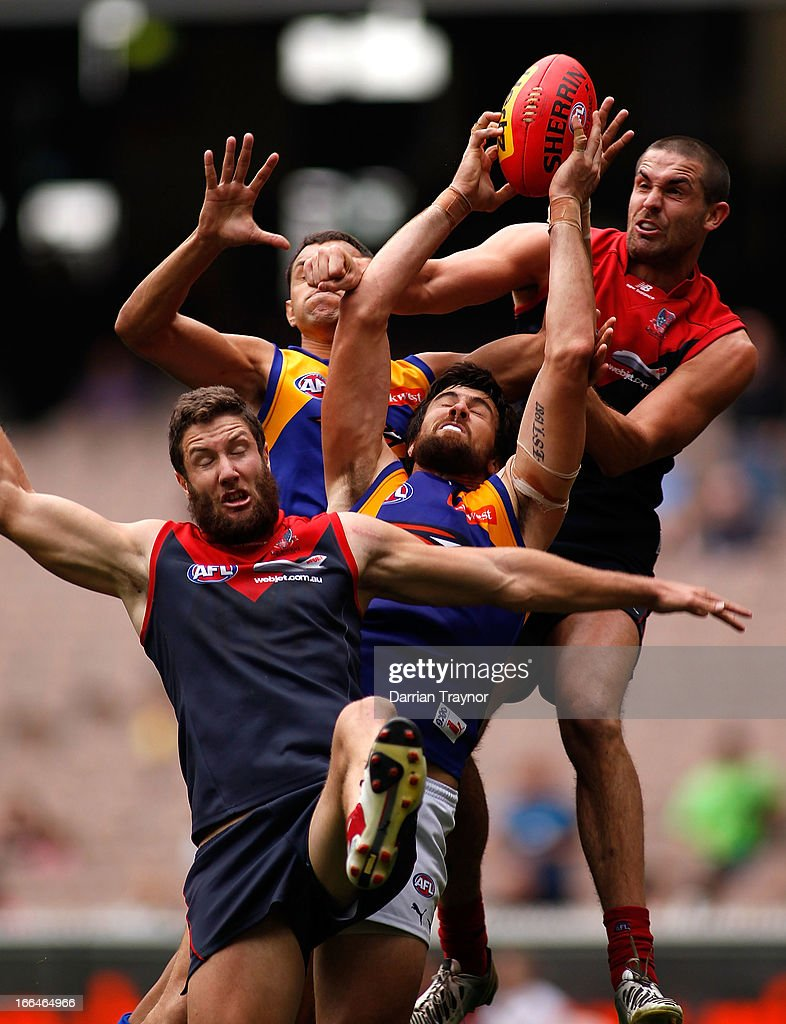 Josh Kennedy of the Eagles takes a strong mark during the round three AFL match between the Melbourne Demons and the West Coast Eagles at Melbourne Cricket Ground on April 13, 2013 in Melbourne, Australia.