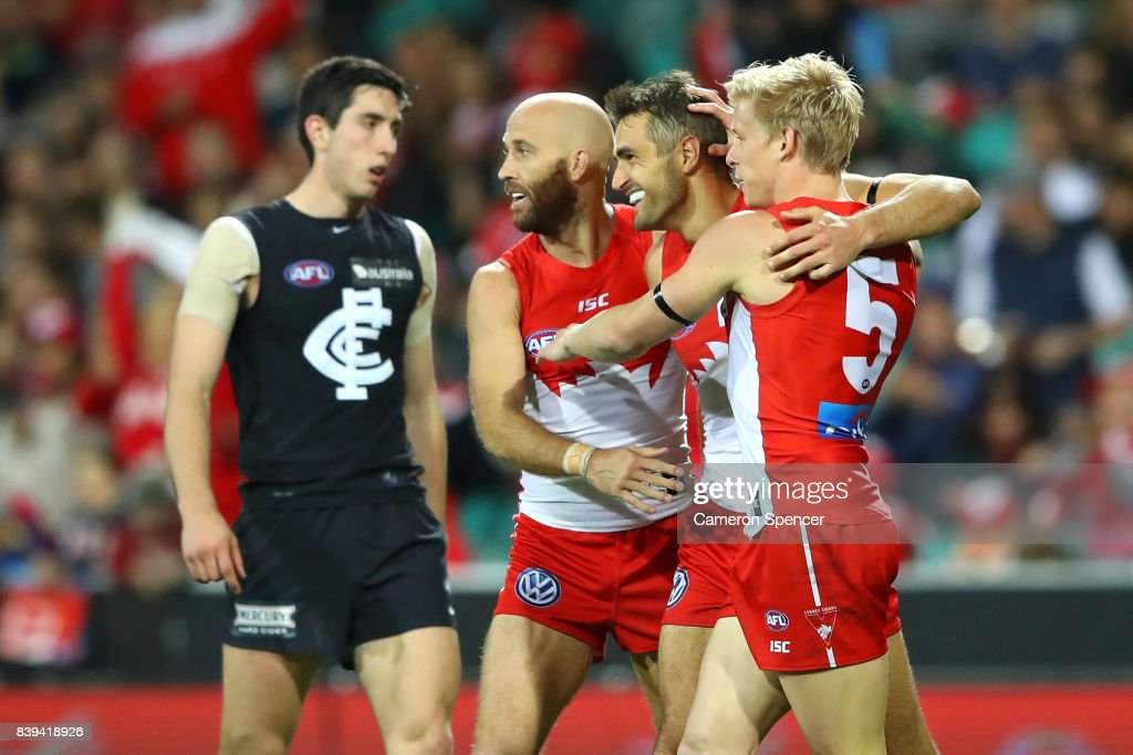 Josh Kennedy of the Swans celebrates kicking a goal during the round 23 AFL match between the Sydney Swans and the Carlton Blues at Sydney Cricket Ground on August 26, 2017 in Sydney, Australia.