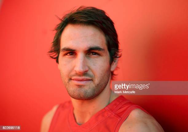 Josh Kennedy poses during a Sydney Swans AFL training session at Sydney Cricket Ground on July 26 2017 in Sydney Australia