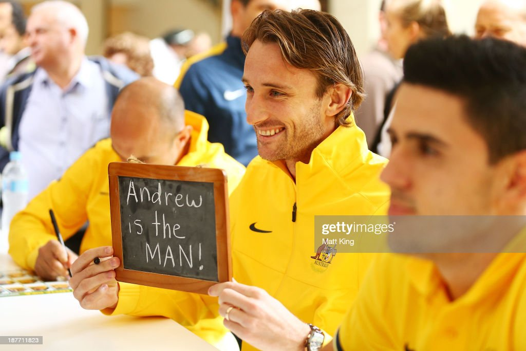 Josh Kennedy poses for fans during an Australian Socceroos public appearance at Westfield Sydney on November 12, 2013 in Sydney, Australia.