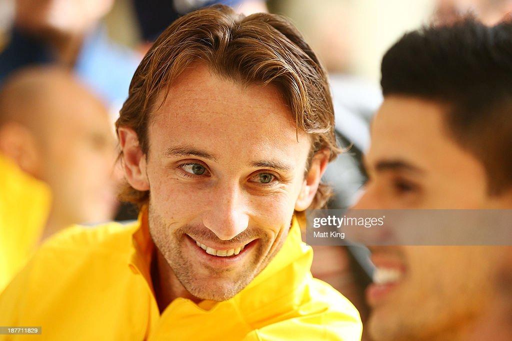 Josh Kennedy smiles during an Australian Socceroos public appearance at Westfield Sydney on November 12, 2013 in Sydney, Australia.