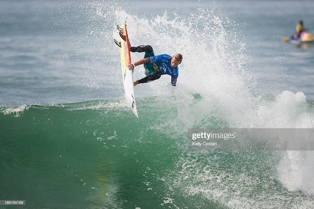 Josh Kerr of Australia placed equal 3rd at the RipCurl Pro Portugal on October 17, 2013 in Peniche, Portugal.