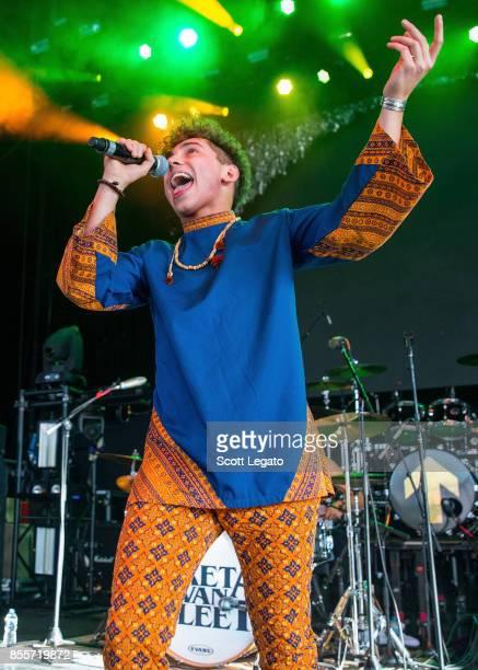 Josh Kiszka of Greta Van Fleet performs during Riff Fest at DTE Energy Music Theater on September 29 2017 in Clarkston Michigan