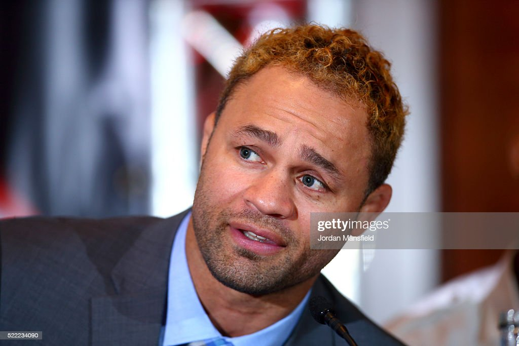 Josh Koscheck speaks during the Bellator 158 MMA Press Conference at the Four Seasons Hotel on April 18, 2016 in London, England.
