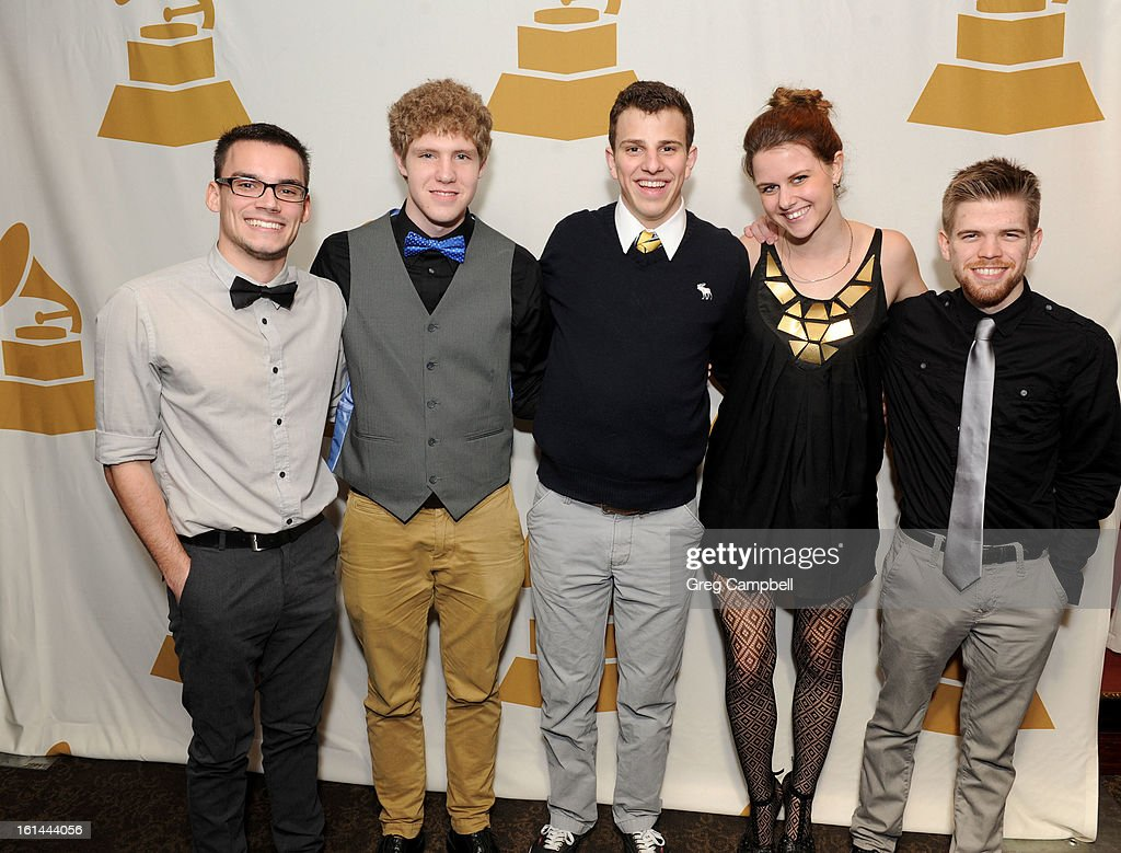 Josh Kottke, Jon-Paul Smith, Andrew Elder, Amelia Warren and Chaz Mathson attend the 55th Annual GRAMMY Awards Telecast Party at Hard Rock Cafe on February 10, 2013 in Chicago, Illinois.