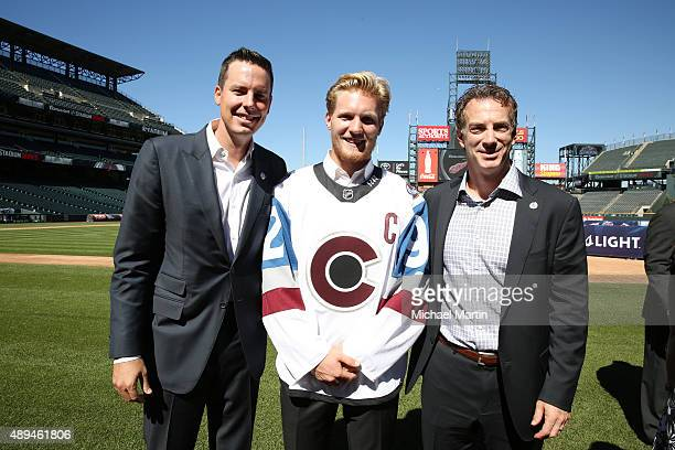 Josh Kroenke Gabriel Landeskog and Joe Sakic pose for a photo after the 2016 Coors Light NHL Stadium Series is announced at Coors Field on September...
