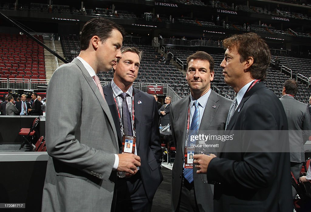 <a gi-track='captionPersonalityLinkClicked' href=/galleries/search?phrase=Josh+Kroenke&family=editorial&specificpeople=3079825 ng-click='$event.stopPropagation()'>Josh Kroenke</a>, <a gi-track='captionPersonalityLinkClicked' href=/galleries/search?phrase=Patrick+Roy&family=editorial&specificpeople=204512 ng-click='$event.stopPropagation()'>Patrick Roy</a>, Greg Sherman and <a gi-track='captionPersonalityLinkClicked' href=/galleries/search?phrase=Joe+Sakic&family=editorial&specificpeople=202869 ng-click='$event.stopPropagation()'>Joe Sakic</a> of the Colorado AValanche attend the 2013 NHL Draft at Prudential Center on June 30, 2013 in Newark, New Jersey.