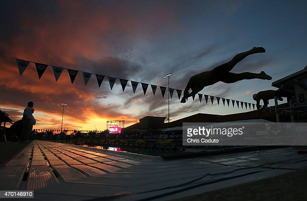 Josh Lamb launches off the blocks at the start of the 200m Breaststroke Final during day three of the Arena Pro Swim Series at the Skyline Acquatic...