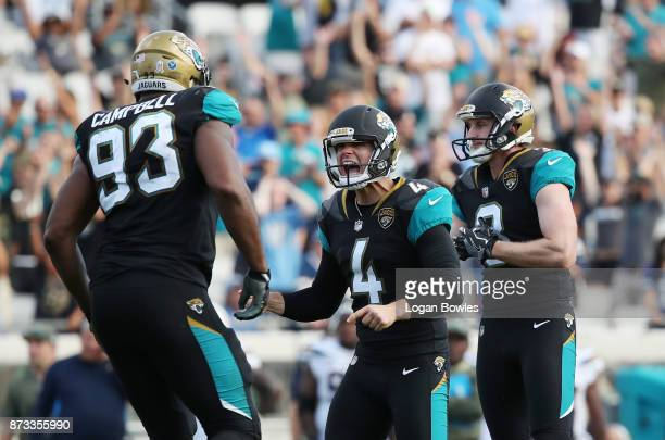 Josh Lambo of the Jacksonville Jaguars celebrates after he made a 34yard field goal in the second half of their game against the Los Angeles Chargers...