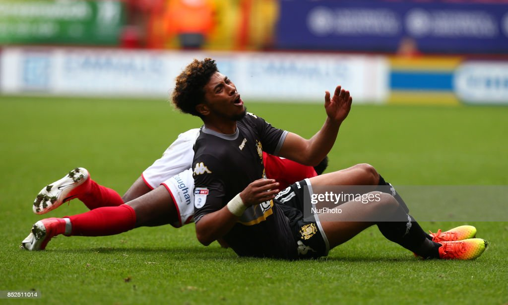 Josh Laurent of Bury during Sky Bet League One match between Charlton Athletic against Bury at The Valley Stadium London on 23 Sept 2017