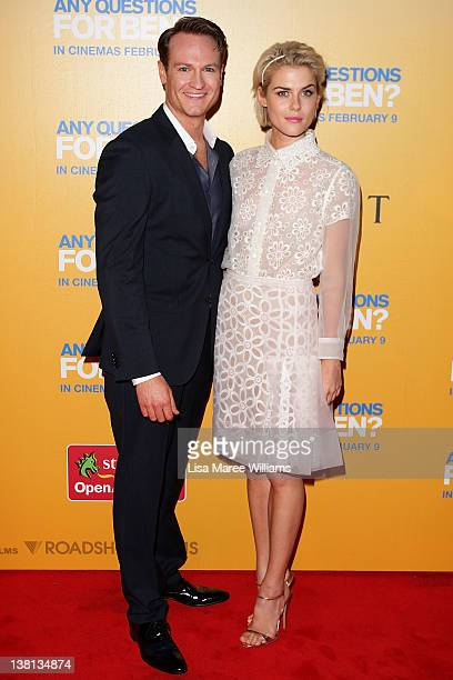 Josh Lawson and Rachael Taylor arrive at the 'Any Questions For Ben' Sydney premiere at the St George OpenAir Cinema on February 3 2012 in Sydney...