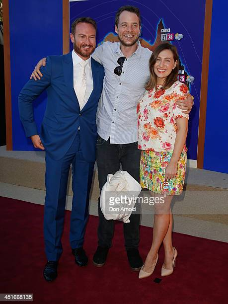 Josh Lawson Hamish Blake and Zoe Foster pose at the 'Anchorman 2 The Legend Continues' Australian premiere at The Entertainment Quarter on November...