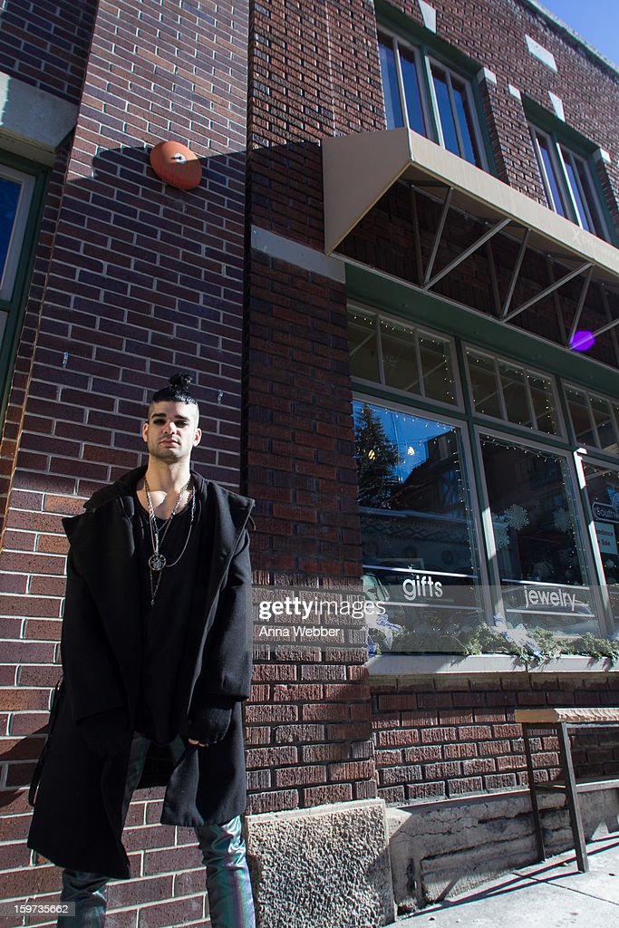 Josh Lecash, lead actor of Rebel, Rebel, Rebel from Los Angeles, wearing Assembly New York jacket, ASOS pants, Knomadik tank, Howl dreamcatcher necklace, and John Varvatos boots on January 19, 2013 on the streets of Park City, Utah.