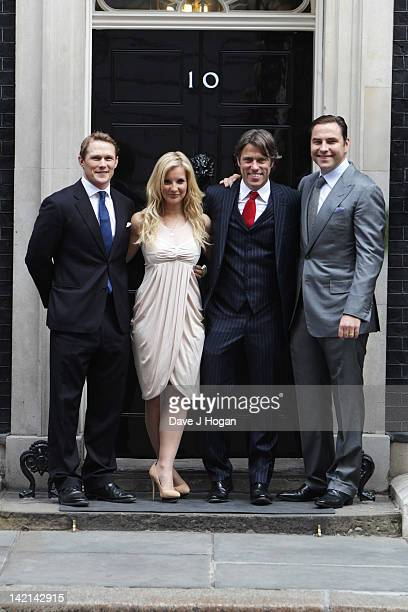 Josh Lewsey Helen Skelton John Bishop and David Walliams attend a tea reception to congratulate Sport Relief 2012 celebrity challengers at No 10...