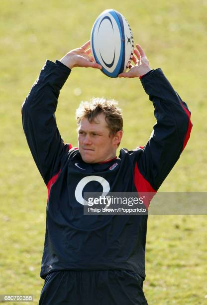 Josh Lewsey of England in action during a training session prior to the Six Nations match against Scotland at Pennyhill Park in Bagshot Surrey on the...
