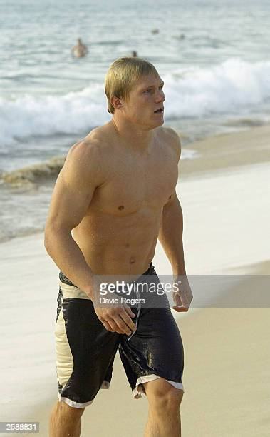 Josh Lewsey the England fullback after a swim at the O2 Beach Party at North Cottesloe Beach on October 10 2003 in Perth Australia