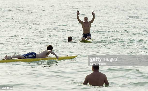 Josh Lewsey the England fullback enjoys surfing at the O2 Beach Party at North Cottesloe Beach on October 10 2003 in Perth Australia