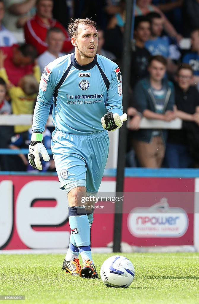 Josh Lillis of Rochdale in action during the npower League Two match between Rochdale and Northampton Town at Spotland Stadium on August 18, 2012 in Rochdale, England.