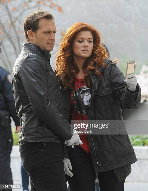 Josh Lucas and Debra Messing on the set of 'Mysteries of Laura' on November 9 2015 in New York City