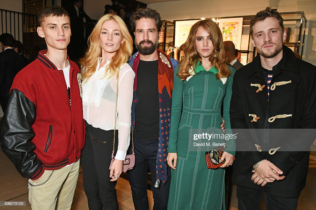 Josh Ludlow Clara Paget Jack Guinness Suki Waterhouse and George Barnett attend the Burberry LCM event at 121 Regent Street hosted by Christopher...