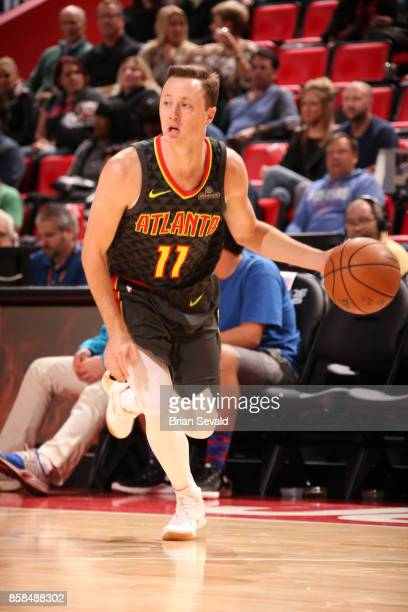 Josh Magette of the Atlanta Hawks handles the ball against the Detroit Pistons on October 6 2017 at Little Caesars Arena in Detroit Michigan NOTE TO...