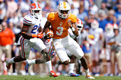 Josh Malone of the Tennessee Volunteers runs downfield after a reception during the first half of the game against the Florida Gators at Neyland...
