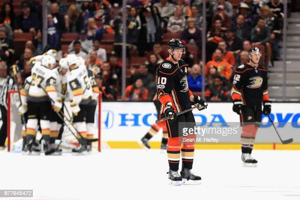 Josh Manson and Corey Perry of the Anaheim Ducks look on after a goal by William Karlsson of the Vegas Golden Knights during the third period of a...
