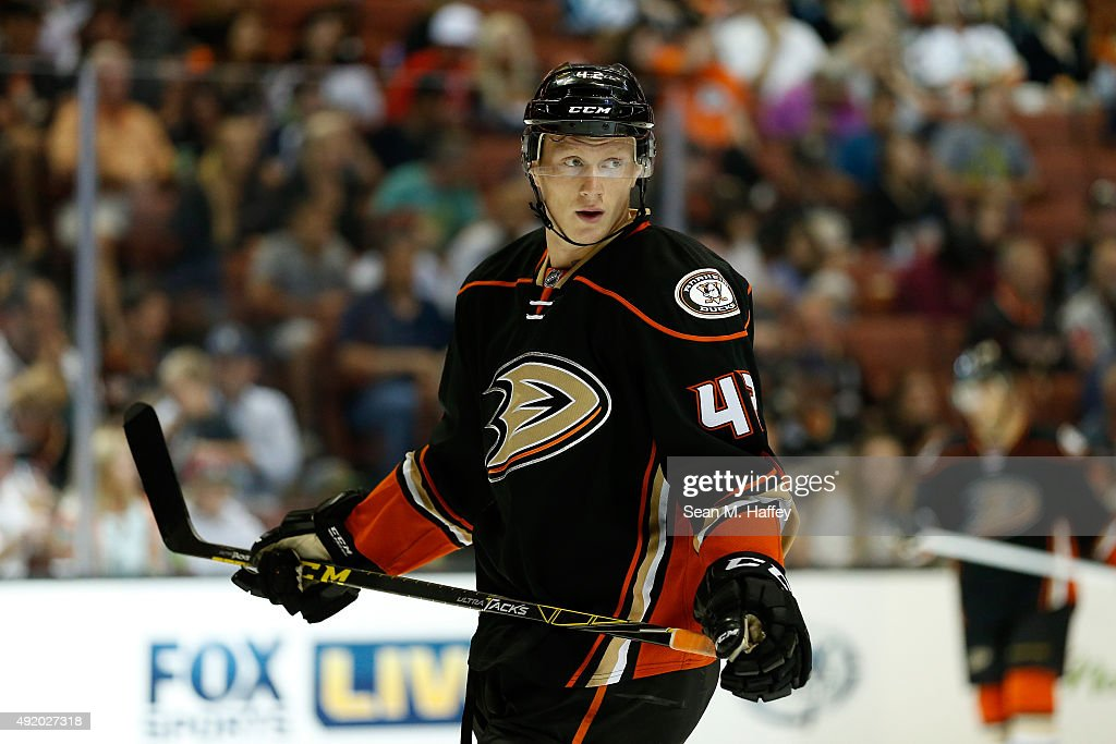 <a gi-track='captionPersonalityLinkClicked' href=/galleries/search?phrase=Josh+Manson&family=editorial&specificpeople=10214669 ng-click='$event.stopPropagation()'>Josh Manson</a> #42 of the Anaheim Ducks looks on during a pre season game against the San Jose Sharks at Honda Center on October 3, 2015 in Anaheim, California.