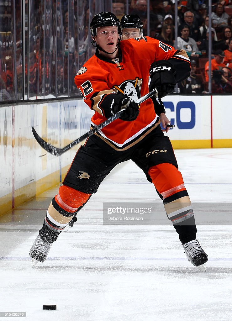 <a gi-track='captionPersonalityLinkClicked' href=/galleries/search?phrase=Josh+Manson&family=editorial&specificpeople=10214669 ng-click='$event.stopPropagation()'>Josh Manson</a> #42 of the Anaheim Ducks passes the puck during the game against the Los Angeles Kings on February 28, 2016 at Honda Center in Anaheim, California.