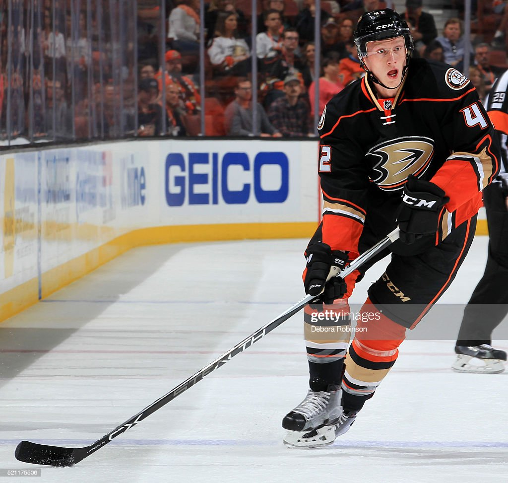 <a gi-track='captionPersonalityLinkClicked' href=/galleries/search?phrase=Josh+Manson&family=editorial&specificpeople=10214669 ng-click='$event.stopPropagation()'>Josh Manson</a> #42 of the Anaheim Ducks skates with the puck during the game against the Winnipeg Jets on April 5, 2016 at Honda Center in Anaheim, California.