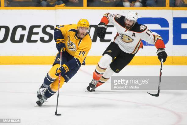 Josh Manson of the Nashville Predators skates against Ryan Kesler of the Anaheim Ducks in Game Six of the Western Conference Final during the 2017...