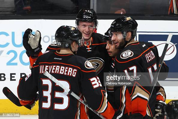 Josh Manson Ryan Kesler Andrew Cogliano and Jakob Silfverberg of the Anaheim Ducks celebrate a second period goal against the New Jersey Devils on...