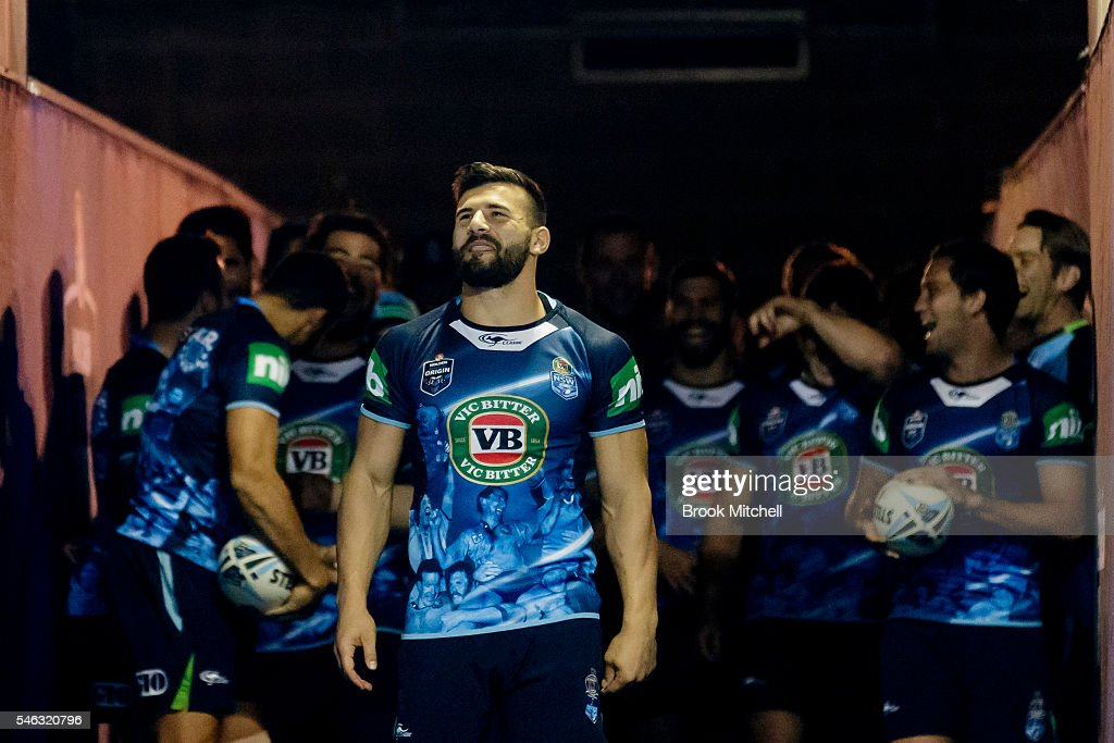 Josh Mansour and the Blues Squad during the New South Wales Blues State of Origin captain's run at ANZ Stadium on July 12, 2016 in Sydney, Australia.