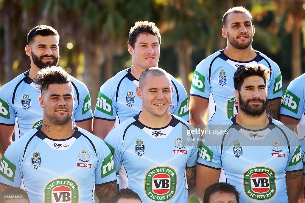 Josh Mansour, Josh Jackson, Blake Ferguson, (L-R bottom) Andrew Fifita, David Klemmer and James Tamou of the Blues pose during a New South Wales Blues NRL State of Origin team photo session at The Novatel on May 24, 2016 in Coffs Harbour, Australia.