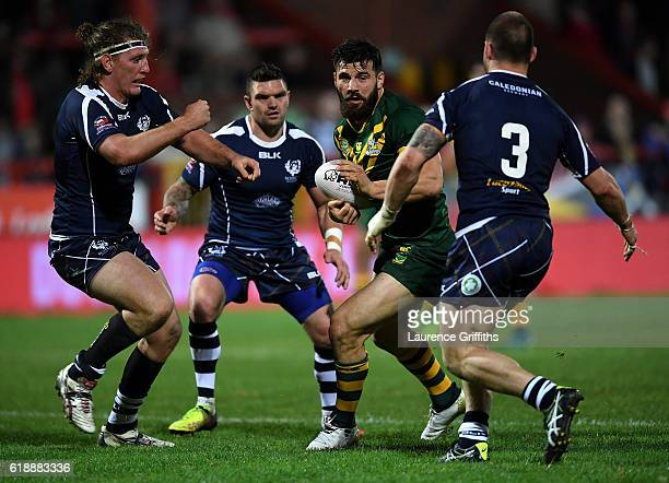 Josh Mansour of Australia in action during the Four Nations match between the Australian Kangaroos and Scotland at KCOM Lightstream Stadium on...