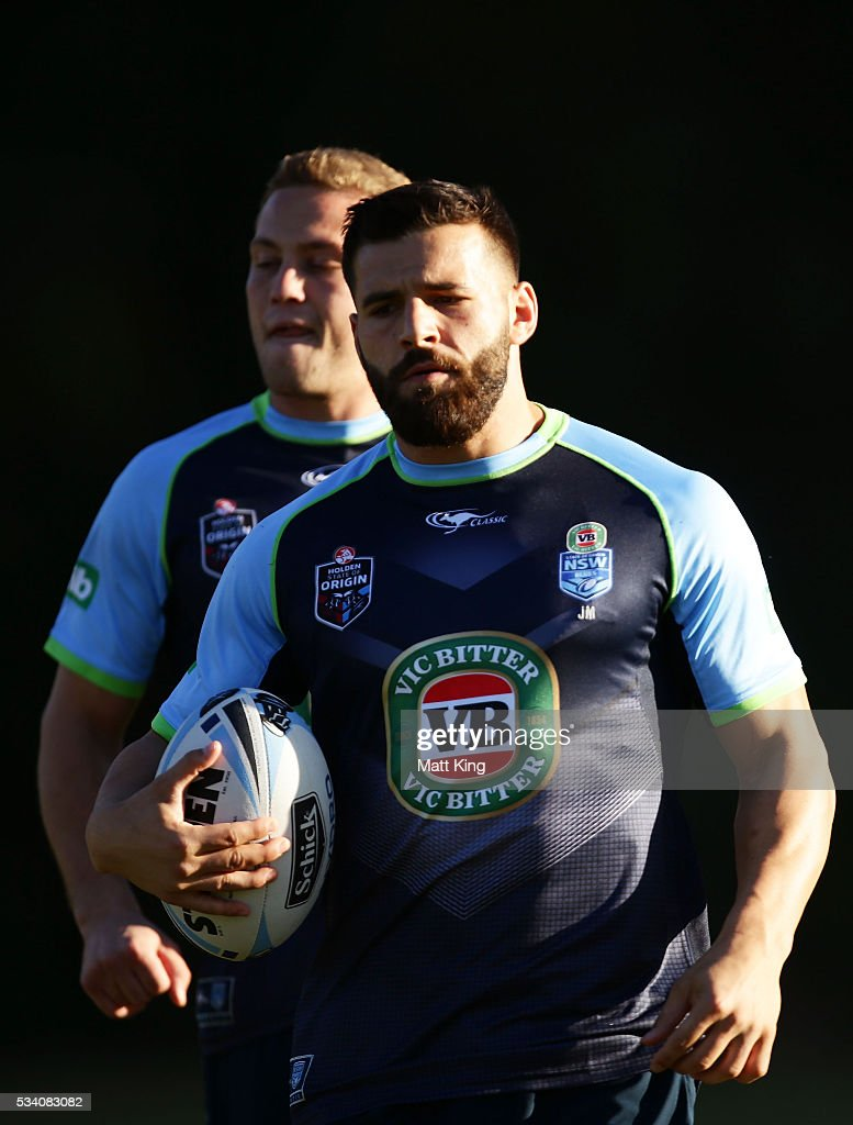 Josh Mansour of the Blues looks on during a New South Wales Blues State of Origin training session on May 25, 2016 in Coffs Harbour, Australia.