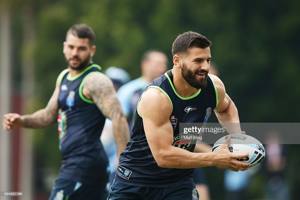 Josh Mansour of the Blues runs with the ball during a New South Wales State of Origin media opportunity on May 26, 2016 in Coffs Harbour, Australia.