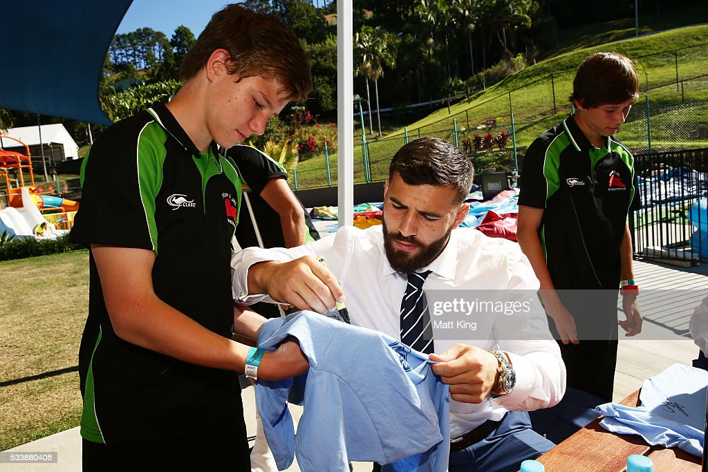 Josh Mansour	of the Blues signs autographs for young rugby league players during a New South Wales Blues NRL State of Origin Welcome Session at The Big Banana on May 24, 2016 in Coffs Harbour, Australia.