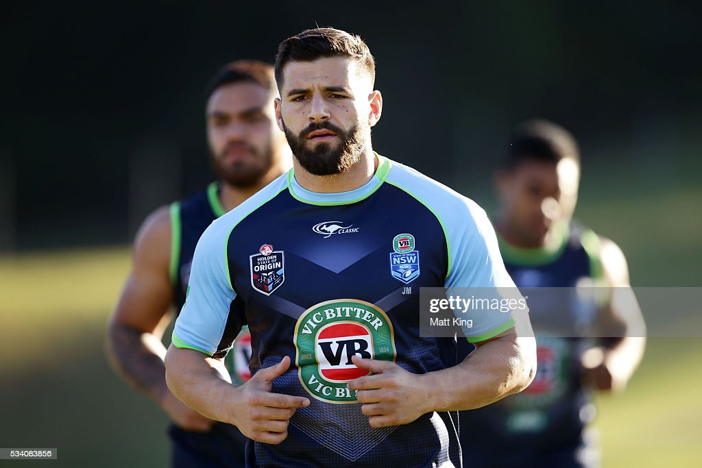 Josh Mansour of the Blues warms up during a New South Wales Blues State of Origin training session on May 25, 2016 in Coffs Harbour, Australia.