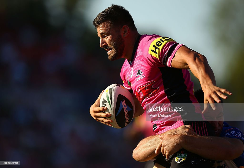 Josh Mansour of the Panthers is tackled during the NRL Trial match between the Canterbury Bulldogs and the Penrith Panthers at Pepper Stadium on February 13, 2016 in Sydney, Australia.