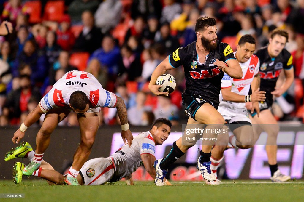 Josh Mansour of the Panthers makes a line break during the round 14 NRL match between the Penrith Panthers and the St George Illawarra Dragons at...
