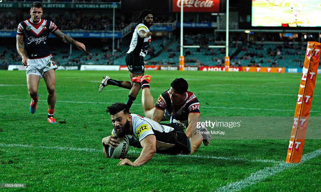 Josh Mansour of the Panthers scores a try during the NRL 1st Qualifying Final match between the Sydney Roosters and the Penrith Panthers at Allianz...