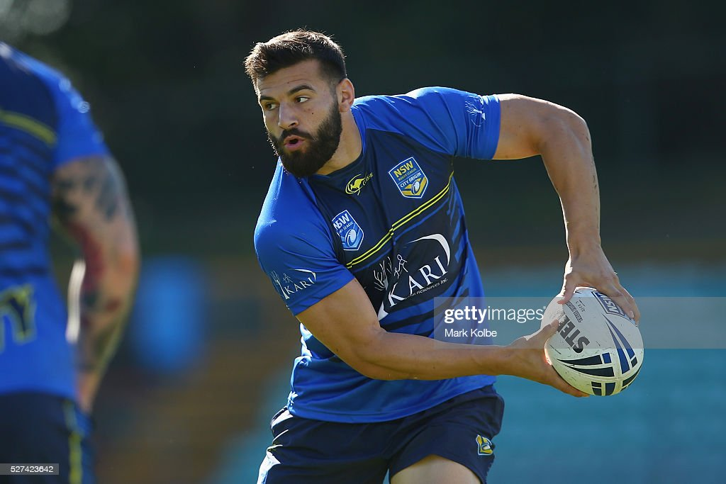 Josh Mansour passes during a City NSW Origin training session at Leichhardt Oval on May 3, 2016 in Sydney, Australia.
