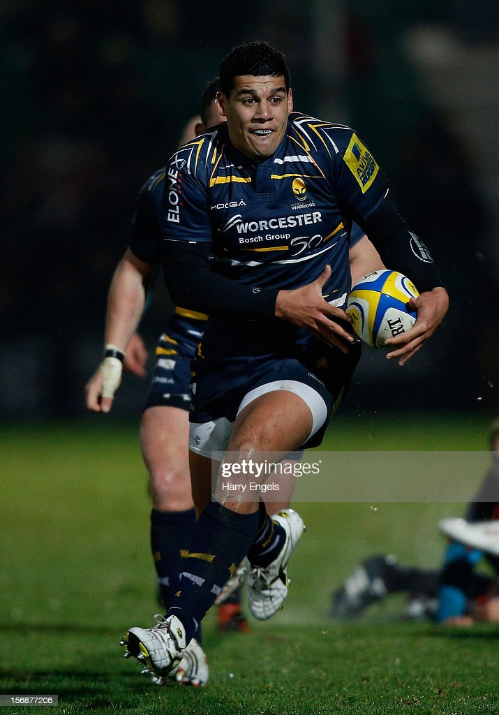 Josh Matavesi of Worcester makes a break during the Aviva Premiership match between Worcester Warriors and Saracens at Sixways Stadium on November 23, 2012 in Worcester, England.