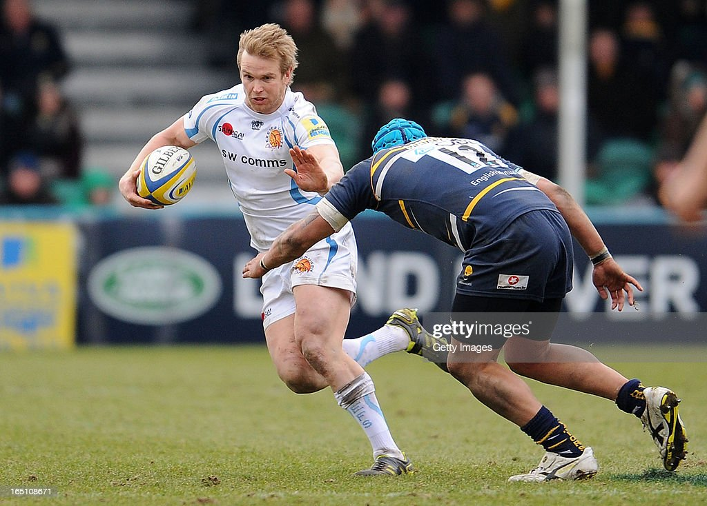 Josh Matavesi of Worcester Warriors is tackled by Jason Shoemark of Exeter Chiefs during the Aviva Premiership match between Worcester Warriors and Exeter Chiefs at Sixways Stadium on March 30, 2013 in Worcester, England.