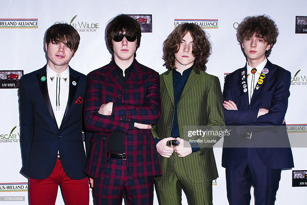 Josh McClorey, Ross Farrelly, Pete O'Hanlonm and Evan Walsh of <a gi-track='captionPersonalityLinkClicked' href=/galleries/search?phrase=The+Strypes&family=editorial&specificpeople=10245304 ng-click='$event.stopPropagation()'>The Strypes</a> attend the 9th Annual 'Oscar Wilde: Honoring The Irish In Film' Pre-Academy Awards event at Bad Robot on February 27, 2014 in Santa Monica, California.